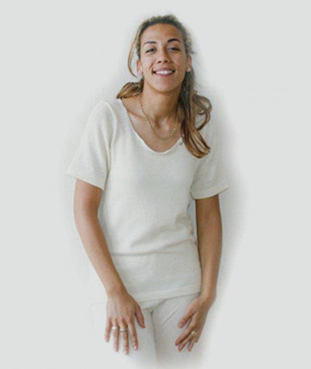 Sous Vêtement Femme Pure Laine Bio Mérinos Manches Courtes France c9bf63a8a63